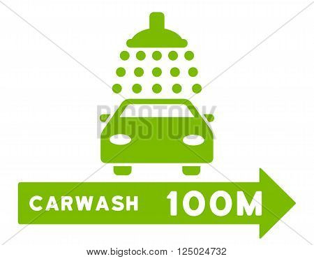 Carwash Right Direction vector illustration for street advertisement. Style is eco green flat symbols on a white background.