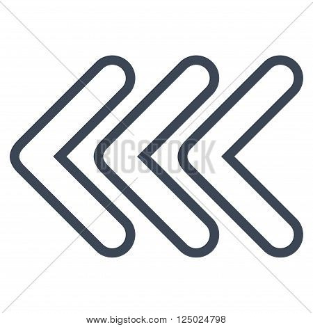 Triple Pointer Left vector icon. Style is stroke icon symbol, smooth blue color, white background.