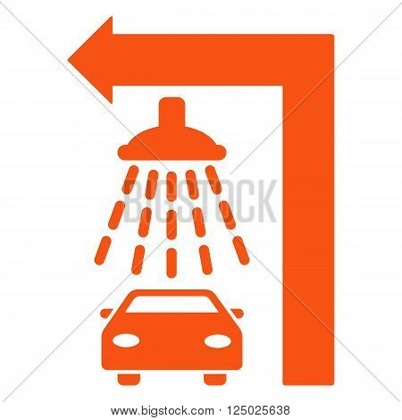 Carwash Turn Left vector illustration for street advertisement. Style is orange flat symbols on a white background.