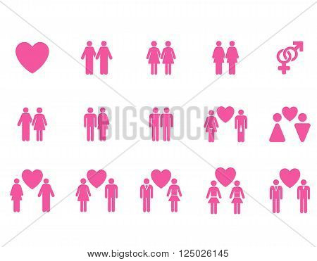 Love Pairs vector icon set. Style is pink flat symbols isolated on a white background.