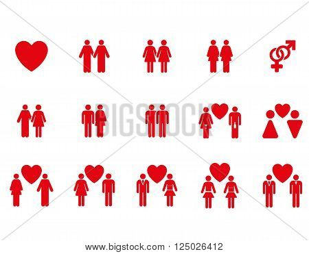 Love Pairs vector icon set. Style is red flat symbols isolated on a white background.