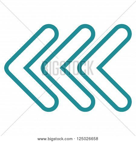 Triple Pointer Left vector icon. Style is outline icon symbol, soft blue color, white background.