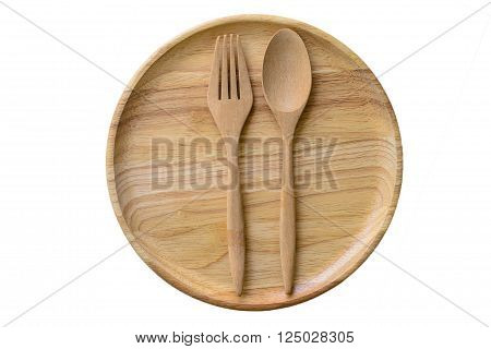 Empty wooden plate and spoons forks on white background Set of wooden plate and spoons forks