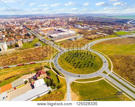 Aerial view of roundabout in Pilsen, Czech republic, Central Europe. Nowadays, the Pilsen metropolitan area covers 125 square kilometres. Its population is 165, 000 inhabitants.