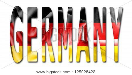 Germany word with a bevelled German flag texture on an isolated white background with a clipping path with and without shadows