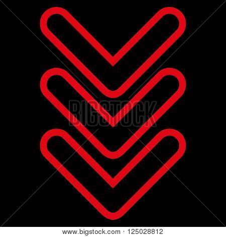 Triple Pointer Down vector icon. Style is stroke icon symbol, red color, black background.