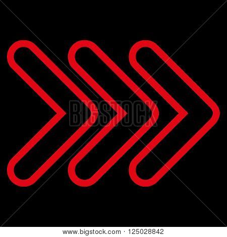 Triple Pointer Right vector icon. Style is contour icon symbol, red color, black background.