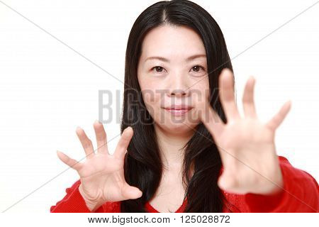 portrait of Japanese woman with supernatural power
