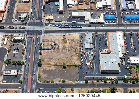 From above the intersection of Country Club Drive and Main Street in downtown Mesa Arizona viewed from north to south