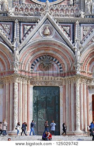 SIENA ITALY - MARCH 12 2016: Siena Cathedral (Details) A splendid example of medieval architecture