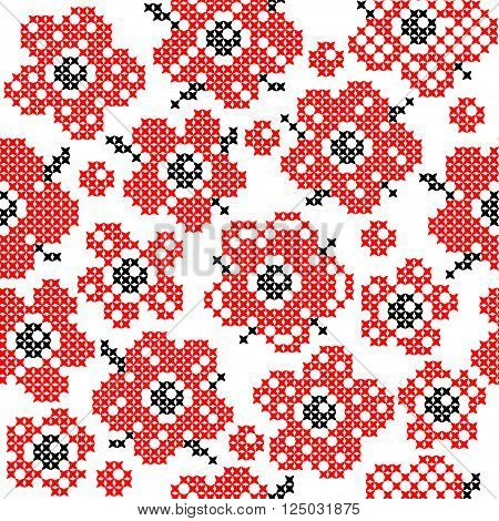 Seamless isolated texture with abstract red embroidered flowers with buds and leaves for tablecloth. Embroidery. Cross stitch.