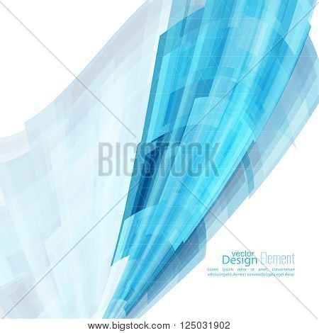Abstract background with blue curved stripes. Technology and dynamic motion. rapid flow of information. Fast speed. smooth bend