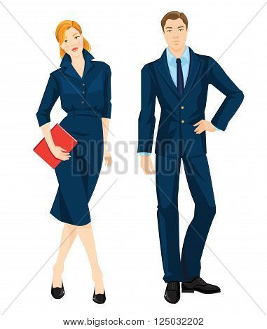 Vector illustration of corporate dress code. Young redhead woman in official blue dress holding document in her hand. Business man in formal navy blue suit and light blue shirt isolated on white.