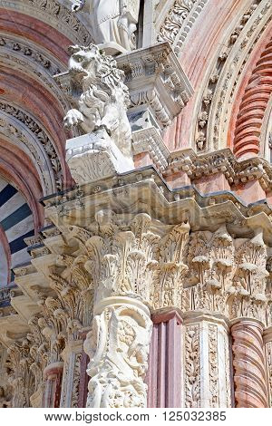 Siena Cathedral (Details) A splendid example of medieval architecture, carved detail of a door column