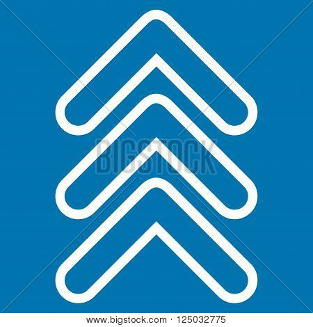 Triple Pointer Up vector icon. Style is outline icon symbol, white color, blue background.