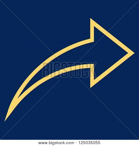 Redo vector icon. Style is thin line icon symbol, yellow color, blue background.