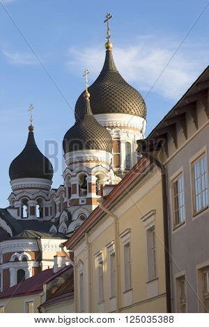 View of the domes of Alexander Nevski Cathedral on a summer evening. Tallinn, Estonia