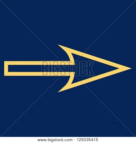 Sharp Arrow Right vector icon. Style is thin line icon symbol, yellow color, blue background.