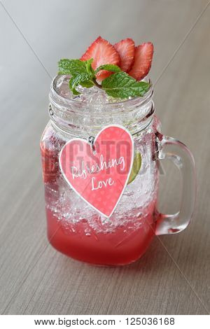 Strawberry smoothie with soda for sweet Valentines day