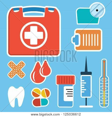 First aid kit box. Medicine chest with cross and medical equipment. Medications for emergency. Healthcare flat vector illustration