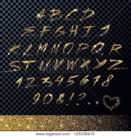 Vector hand drawn letters. Sparkling calligraphic alphabet. Gold glitter.