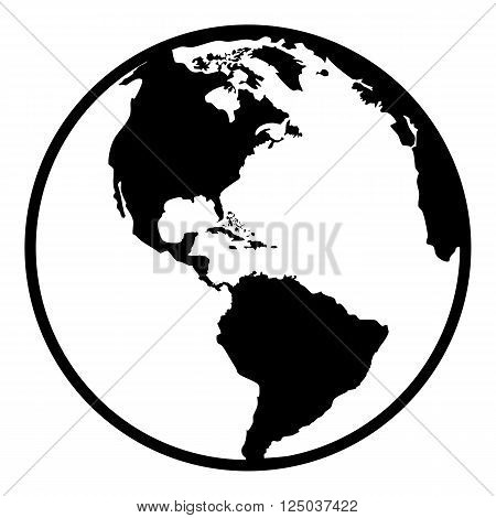 Earth planet globe web and mobile icon in flat design. Contour black symbol of earth planet in america view. Isolated on white background. Vector illustration.