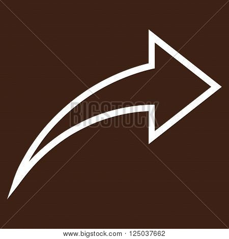 Redo vector icon. Style is thin line icon symbol, white color, brown background.