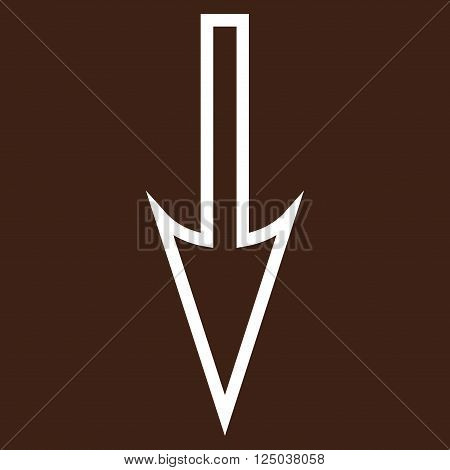 Sharp Arrow Down vector icon. Style is outline icon symbol, white color, brown background.