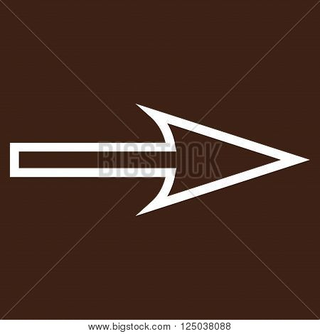 Sharp Arrow Right vector icon. Style is thin line icon symbol, white color, brown background.
