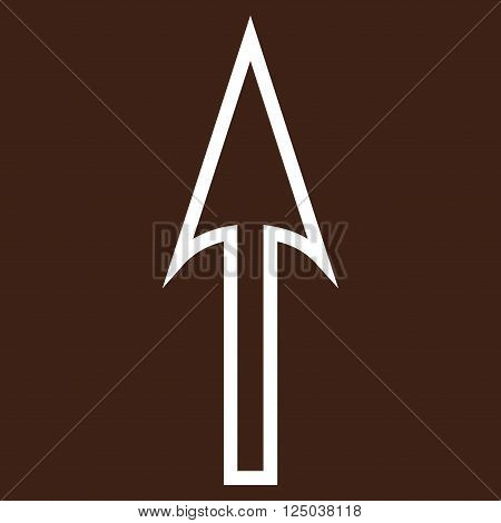Sharp Arrow Up vector icon. Style is thin line icon symbol, white color, brown background.