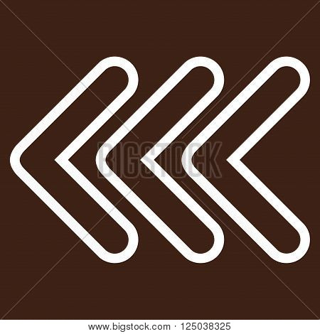 Triple Pointer Left vector icon. Style is stroke icon symbol, white color, brown background.