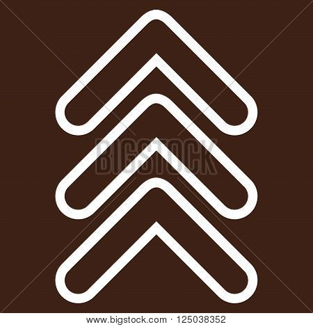 Triple Pointer Up vector icon. Style is outline icon symbol, white color, brown background.