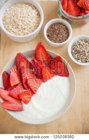 Healthy yogurt with fresh berries for breakfast