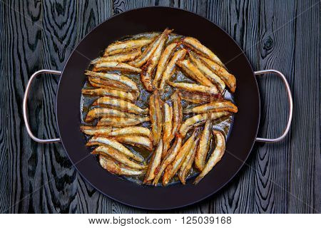 Boquerones fritos fried anchovies from Mediterranean Spain
