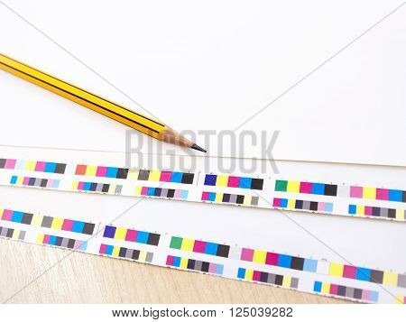 Digital Printing Press Offset Industry work process Pencil and Colour chart on Background