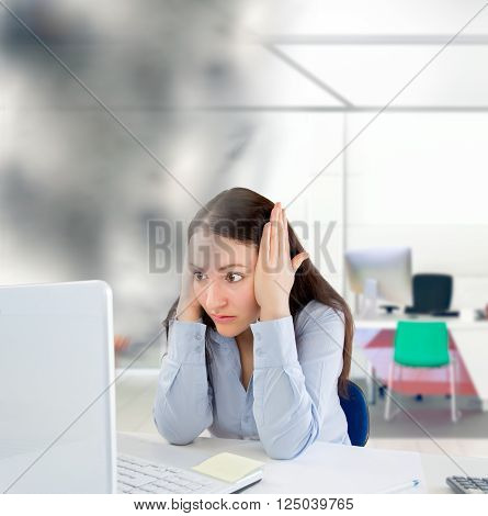 business woman surprised by problems and errors with computer
