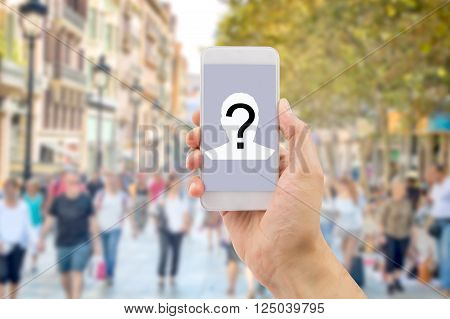 Mobile concept question man hands holding a mobile phone screen with a question mark in a big city background.