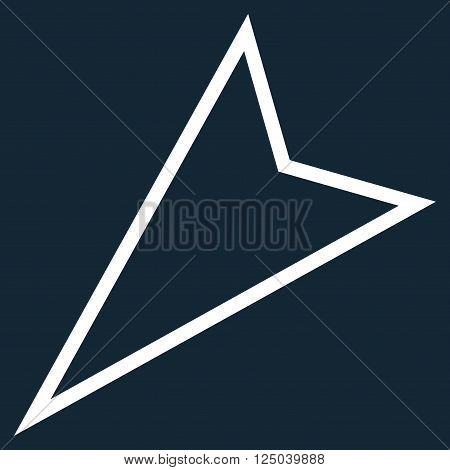 Pointer Left Down vector icon. Style is thin line icon symbol, white color, dark blue background.
