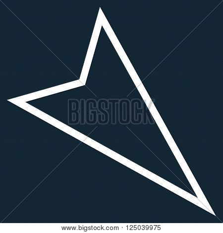 Pointer Right Down vector icon. Style is thin line icon symbol, white color, dark blue background.