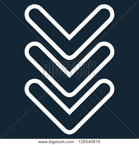 Triple Pointer Down vector icon. Style is stroke icon symbol, white color, dark blue background.