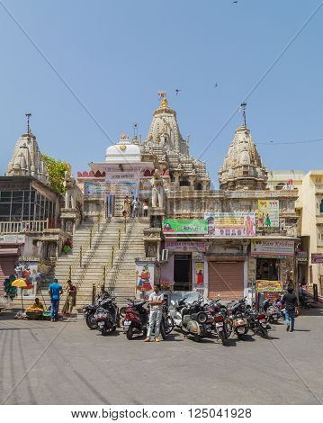 UDAIPUR INDIA - 21ST MARCH 2016: A view of the steps leading up to the Jagdish Temple in Udaipur India. People can be seen.