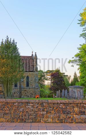 Church and cemetery in Battle in East Sussex in England. The city was called Battle in the memory of the Battle of Hastings.