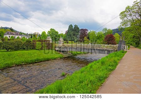 Bridge and river in Lichtentaler Allee park in Baden-Baden. Baden-Baden is a spa town. It is situated in Baden-Wurttemberg in Germany.