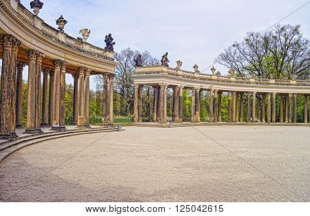 Collonade in Sanssouci Park in Potsdam in Germany. It used to be a summer palace of King of Prussia Frederick the Great.