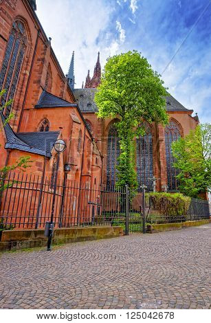 Frankfurt Cathedral in Frankfurt am Main in Germany. It is also called Frankfurter Dom or Cathedral of Saint Bartholomew.