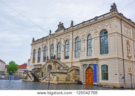 Johanneum Museum of Transport in Dresden in Germany. Neumarkt is a new market square in the city center of Dresden.