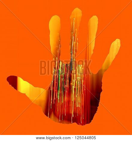 Abstract bright orange background with spotlight handprint