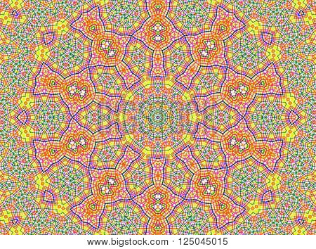 Abstract background with bright colorful concentric pattern geometric design mandala