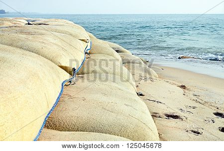 Sand bags for protect the collapse of the beach, The concept for the conservation of Nature