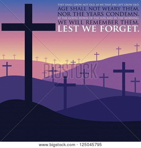 Remembrance Day cross card in vector format.